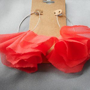 pinkish orange real silk chiffon handmade earrings